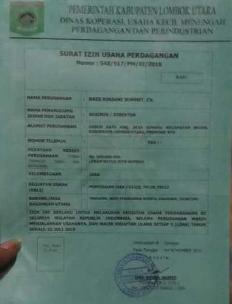 Bas Rinjani Trekking License