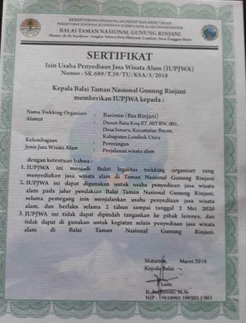 Bas Rinjani Trekking Certificate